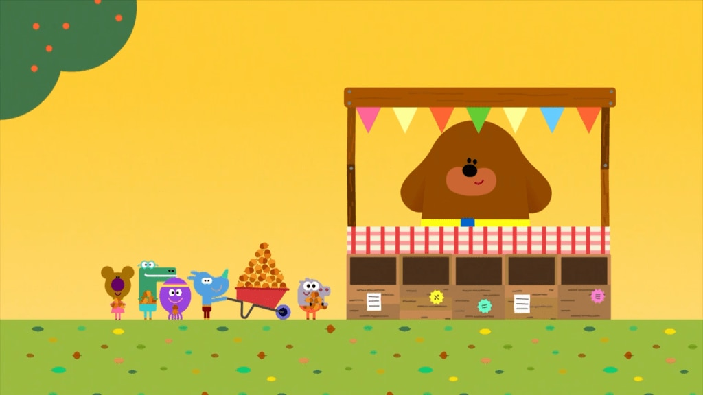 The Squirrels carry acorns to Duggee to get their Acorn Badges