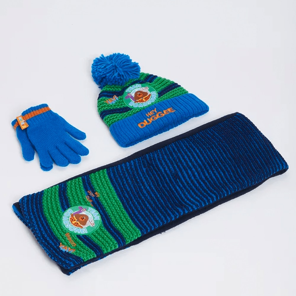Blue Hat, Scarf and Gloves
