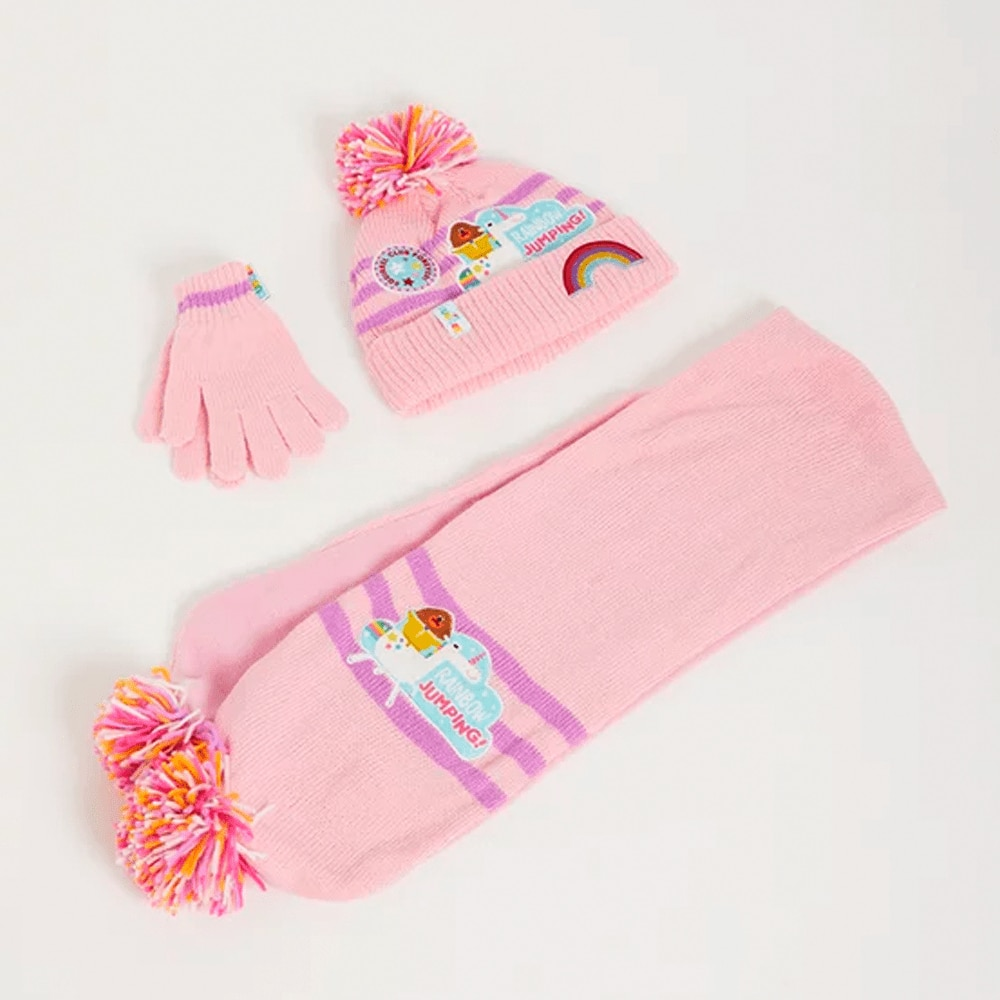 Pink Hat, Scarf and Gloves
