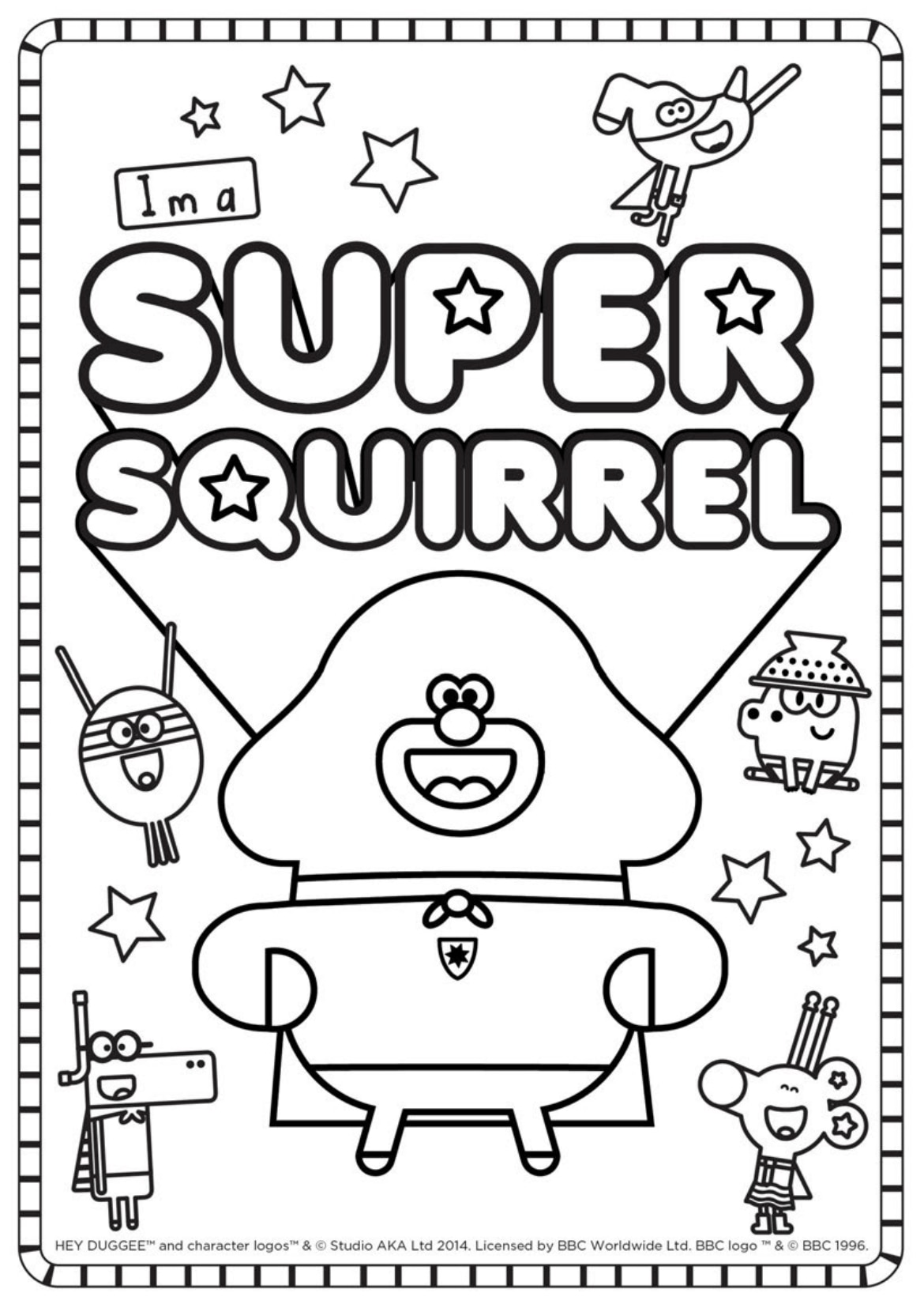 Super Squirrel Colouring Sheet