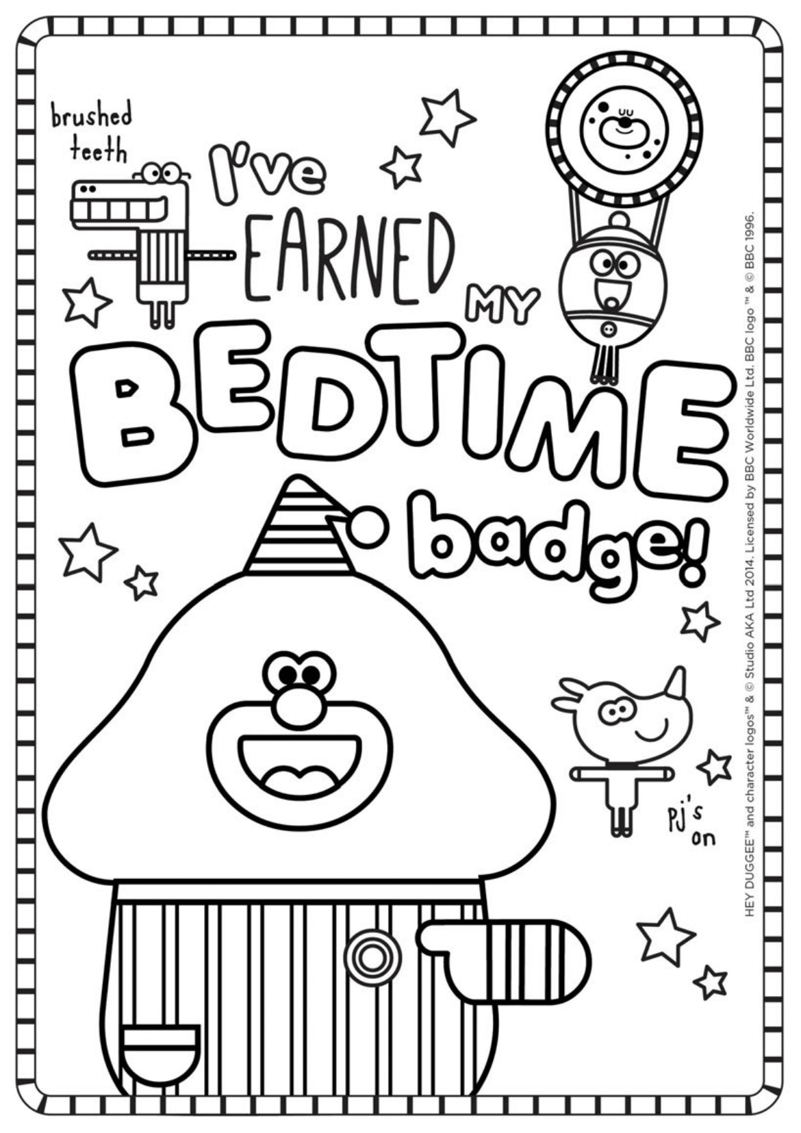 Bedtime Badge Colouring Sheet