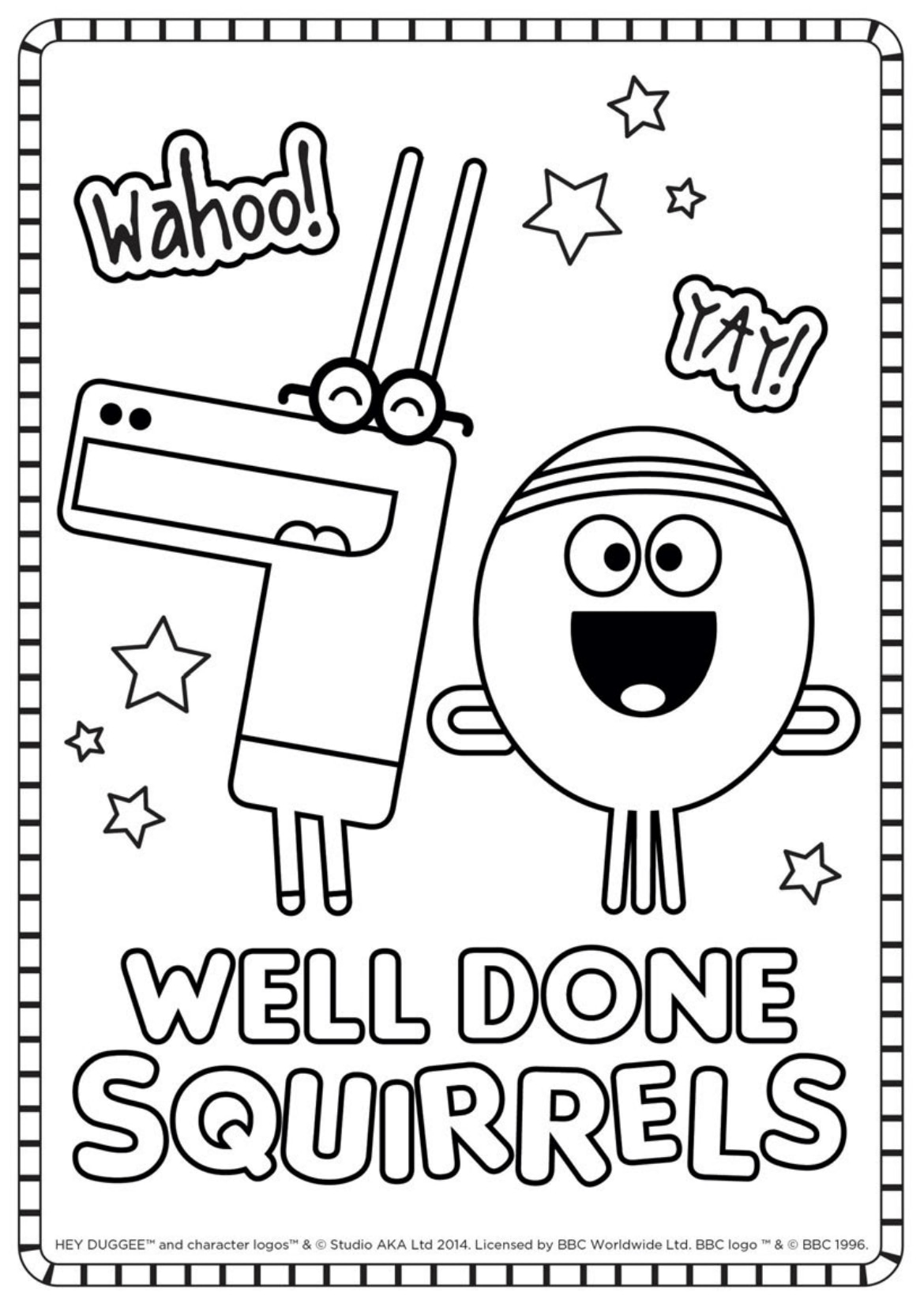 Well Done Squirrels Colouring Sheet