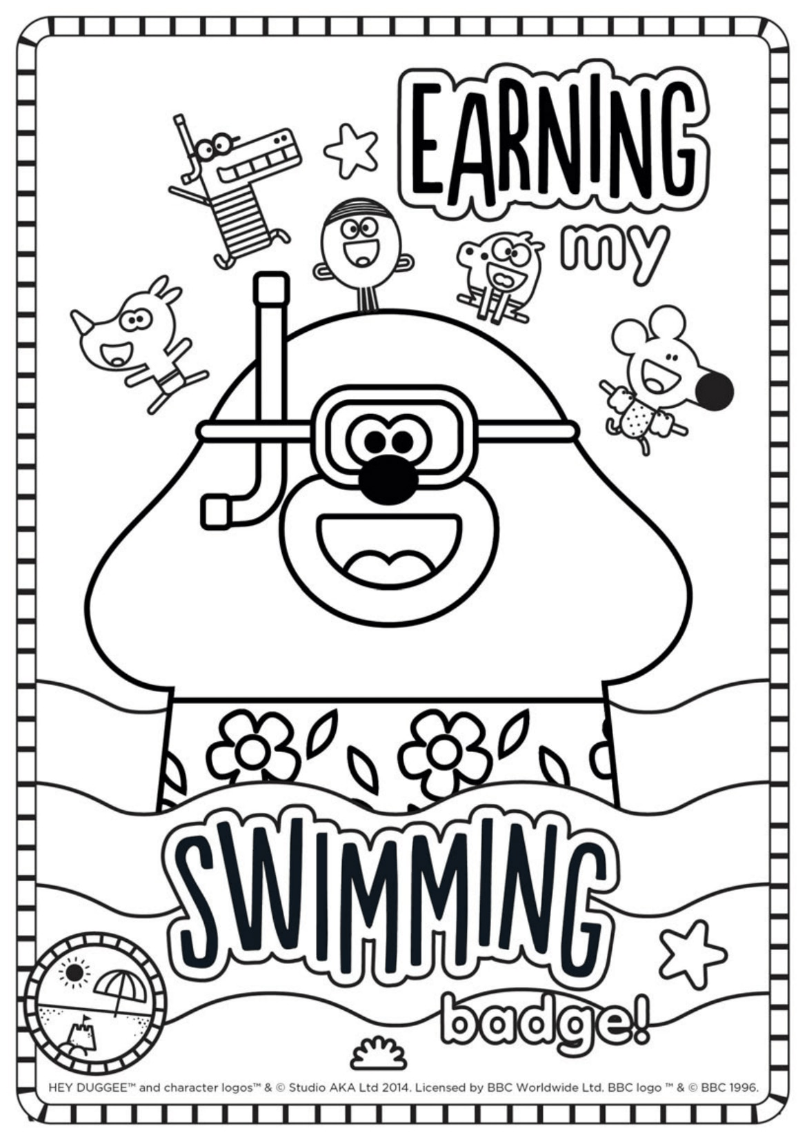 Swimming Badge Colouring Sheet